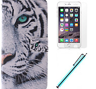 White Tiger Design PU Leather Full Body Case with Film and Capacitance Pen for iPhone 6