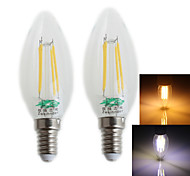 Zweihnder E14 4W 380LM 3000/6000K LED Tungsten Filament Cool/Warm White Candle Light (AC 220-240V,2Pcs)