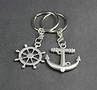Alloy Rudder Anchor Lovers Key Chain