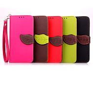 5,0-Zoll-Blatt-Muster PU-Mappen-Lederkasten für Samsung-Galaxie e5 E5000 (verschiedene Farben)