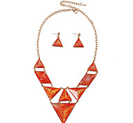 D Exceed Zinc Alloy Gold Plated Resin Jewelry Sets Vintage Geometry Pendant Orange Statement Necklace with Earrings