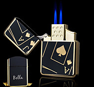 Personalized Gift Poker Design Boutique Metal Black Double Flame Butane Lighter