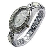 nova moda retro mulheres de ouro relógio de quartzo diamante dots relógios vestido de marcação horas couro senhora ovais Relógio feminino