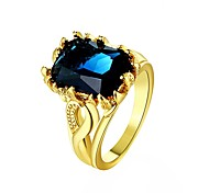 Fashion Atmosphere Diamante Blue-Rose Multicolor Gold-Plated Statement Rings(Golden,Rose Gold,Blue)(1Pcs)