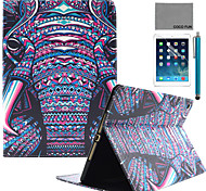 COCO FUN® Purple Elephant Tribal Pattern PU Leather Case with Screen Protector and Stylus for Apple iPad Air 2/iPad 6