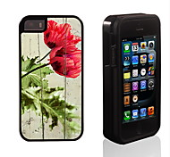 Rose Blooming Pattern 2 in 1 Hybrid Armor Full-Body Dual Layer Shock-Protector Slim Case for iPhone 5/5S