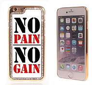 No Pain No Gain Design Luxury Hybrid Bling Glitter Sparkle With Crystal Rhinestone Case for iPhone 6