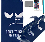 COCO FUN® Don't touch Pattern PU Leather Case with Screen Protector and USB Cable and Stylus for iPhone 6/6S