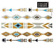 1Pc Gold Silver Blue Long Bracelet Tattoo Sticker 23x15.5CM