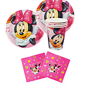 56pcs Minnie Mouse Baby Birthday Party Decorations Kids Evnent Party Supplies Party Decoration 18 People Use