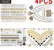 4 Pcs All Different Patterns Long Bracelet/Necklace Tattoo Sticker 23x15.5CM