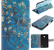 The Old Tree Flower Design PU Leather Full Body Case with Card Slot for Nokia Lumia 630
