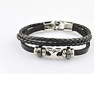 Individual Real Leather Bracelet for Fashion Men(Black/Brown)(1Pc)