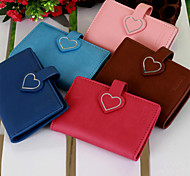 Dretty Zys ® Solid Color Heart Buckle Fastener Sewing Thread Edge Business Card Holder