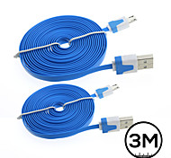 2x 3M Flat Micro USB Data Charger Cable