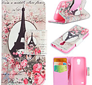 Romantic Tower Pattern with Card Bag Full Body Case for Samsung Galaxy S4 Mini I9190
