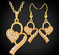 u7® nuevo oro 18k plateó los pendientes de las mujeres collar de sistemas de la joyería de diamante de imitación de la SWA austriaco