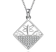 Fashion Style 925 Sterling Silver Jewelry Geometric Squares Pave Zircon Pendant Necklace for Women