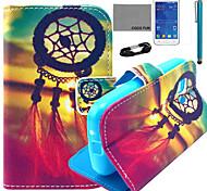 Coco fun® teste padrão de nó chinês estojo de couro pu com filme e stylus para Samsung Galaxy jovem 2 G130
