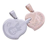2pcs argento e rosa color acciaio inox ciondoli cuore degli amanti pendenti charms intarsio con cristalli