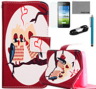COCO FUN® Sleeping Owl Pattern PU Leather Case with Film and USB Cable and Stylus for Samsung Galaxy A5/A5000