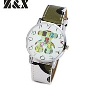 Women's Fashion Diamond Colorful Love Bear Design Quartz Analog Leather Band Wrist Watch(Assorted Colors)