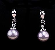 Fashion Jewelry Rhinestone Pearl Drop Earrings with Crystal