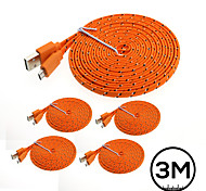 5PCs 3M Flat Noodle Braided Fabric USB2.0 Data Charger Cable