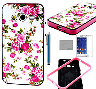 COCO FUN® Roseo Flower Soft TPU Back Case with Screen Protector and Stylus for Samsung Galaxy Core 2 G355H