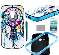 patrón de viento-campana de coco Fun® TPU vuelta suave con protector de pantalla y el stylus para mini i8190 samsung galaxy s3