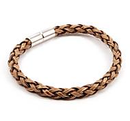 Simple Unisex's Weave Magnet Buckle Leather Bracelets 1pc