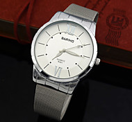 Men's Fashion Dress Quartz Watch Full Steel Mesh Band Vogue Casual Clock with Luminous Hands