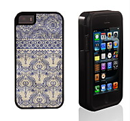 Elegant Blue Flower Pattern 2 in 1 Hybrid Armor Full-Body Dual Layer Shock-Protector Slim Case for iPhone 5/5S