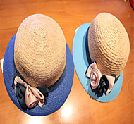 The summer beach hat shading straw hat new lady hand knitting flowers Sapphire blue sky blue