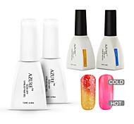 azur 4 pièces / lot changer de couleur de température de trempage hors nail art gel uv ongles (# 24 + # 34 + base + haut)