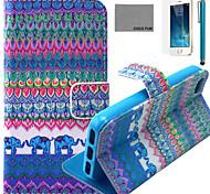 Coco fun® elefante azul padrão tribal estojo de couro pu com protetor de tela e cabo USB e caneta para iPhone 5 / 5s