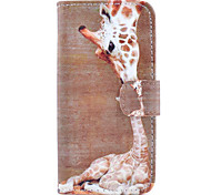 Giraffe Pattern Painted Card PU Material Phone Case for iPhone 6