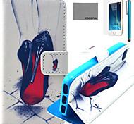 Coco fun® vermelho padrão de salto alto estojo de couro pu com protetor de tela e cabo USB e caneta para iPhone 5 / 5s