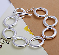 Fashion Brief Lovely  Women's  Seven Letter O Silver Plated Zinc Alloy Chain & Link Bracelet(Silver)(1Pc)