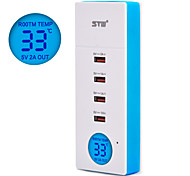 STW 5a 4 Port USB Home Charger Smartphone Universal Charger with LCD Digital Temperature Display