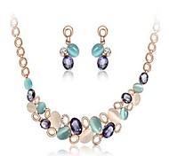NEW Women's European Hand-Made Flower Sculpt Tassel Water-Drop Geometry Alloy Necklace Gemstone Jewelry Set