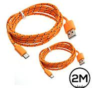 2pcs cabo de dados micro USB carregador de sincronização 2m cabo trançado