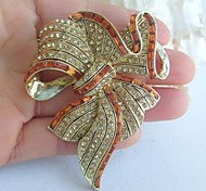 Women Accessories Gold-tone Topaz Rhinestone Crystal Bowknot Brooch Art Deco Crystal Sash Brooch Women Jewelry