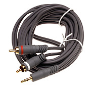 vergulde 3,5 mm male naar audiokabel 3m aux kabel voor laptop / mobiele telefoon / mp3 / dvd 2RCA