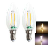 Zweihnder E14 2W 180LM 3000/6000K LED Tungsten Filament Cool/Warm White Candle Light (AC 220-240V,2Pcs)