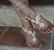 European Style Crochet Flowers Barefoot Sandals Dance Yoga Accessories