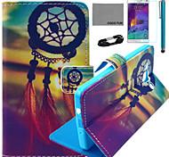 Coco fun® teste padrão de nó chinês estojo de couro pu com filme e cabo USB e caneta para Samsung Galaxy a5 / A5000