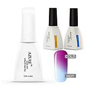 Azure 3 Pcs/Lot  Nail Gel Polish Temperature Changing Color Soak Off Nail Art UV Gel Polish Long-lasting(#03+BASE+TOP)