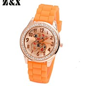 Women's Fashion Diamond  Lovely Bear Quartz Analog Silicone Wrist Watch(Assorted Colors)