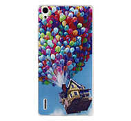 Balloon House Pattern TPU Soft Case for Huawei Ascend P7
